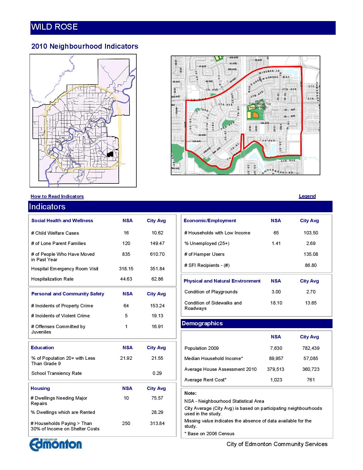 Wild rose Edmonton neighbourhood stats